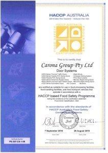 coldshield door system certificate 2016